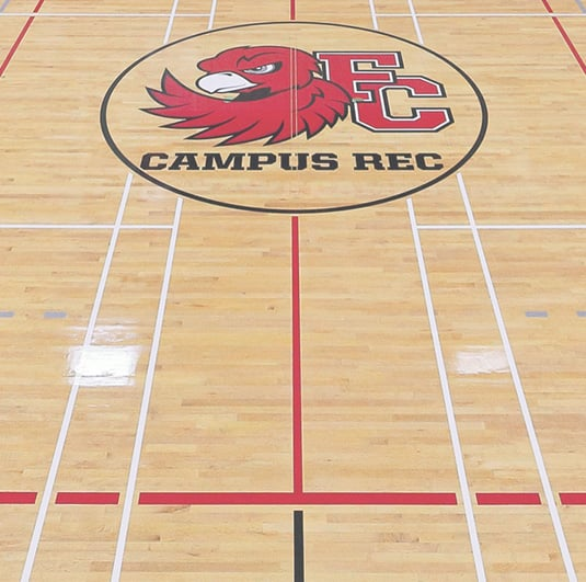 Fanshawe College Campus Recreation School Gym with Shiny Light Hardwood Flooring