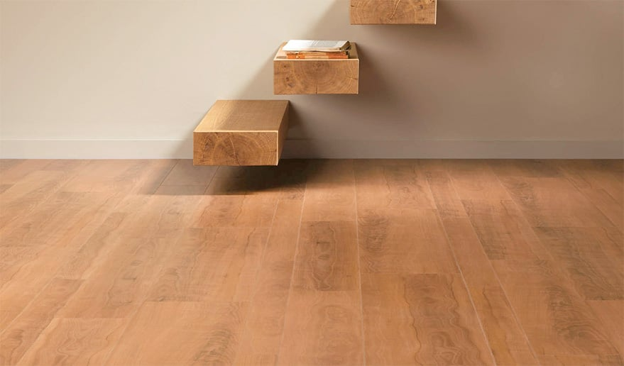 Tree trunk patterned hardwood floor and stairs with beige wall, a close up.